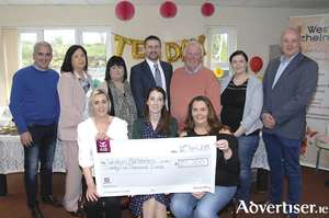 Valeo presented a cheque for €25,000 to its chosen charity for 2018 Western Alzheimers. (Back) Brian Larkin (Valeo), Bernadette Fennessy (HR director, Valeo), Wendy Lohan (Valeo), Diarmuid Doherty (general manager, Valeo), Pat McHugh (Western Alzheimers board of directors chairman), Stephanie Ryan (IP/HR Valeo), Pat Holmes (CEO Western Alzheimers). (Front) Diane Slattery (Valeo), Dee Walsh (fundraising manager Western Alzheimers) and Maura Creaven (Valeo).