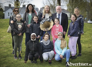 Pictured at the launch of the The Trees have Eyes project in Children's Millennium Park areww Galway deputy mayor Donal Lyons, artist Bernadette Bradley, and  participants from both the Cape and Westside Youth Projects.   