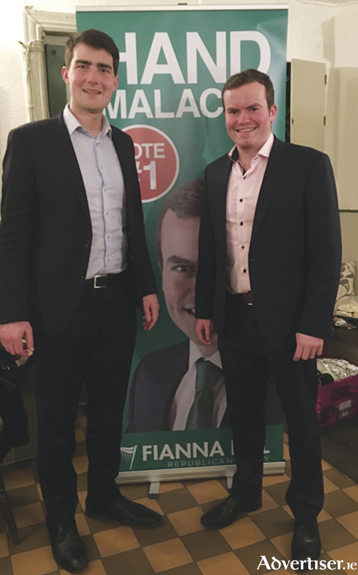 Fianna Fail local election candidate in the South Roscommon, Athlone LEA, Malachy Hand, is pictured with Deputy Jack Chambers