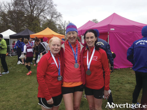 The GCH ladies O50 team competing at the National 10k championships, Margaret Sheridan, Barbara Bergin and Carmel Brannigan.