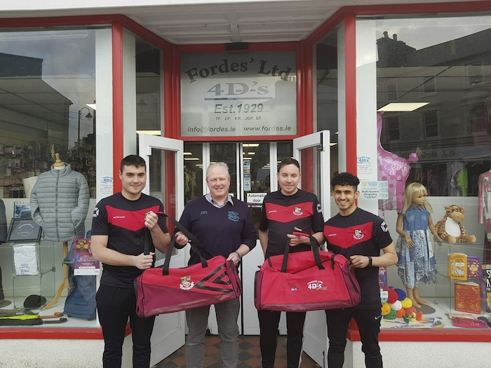 Dressed to impress: Ballyhaunis Town are presented with gear bags by Tom Forde from Forde's Ltd for the new season. Left to right: James Cribbin, Tom Forde, Richie Crinnigan and Hamood Althobhaney