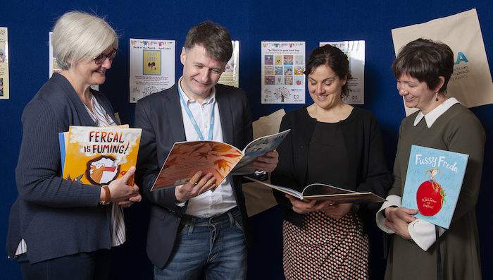 Pictured at the launch of Mayo CYPSC Launch 'Book Bags' Initiative in Mayo County Library were: Darina Molloy (Mayo County Library), Jarlath Munnelly (Mayo CYPSC Co Ordinator), Thelma Birrane (HSE) and Annemarie Tiernan (Tusla) at Mayo County Library. Photo: Michael McLaughlin.