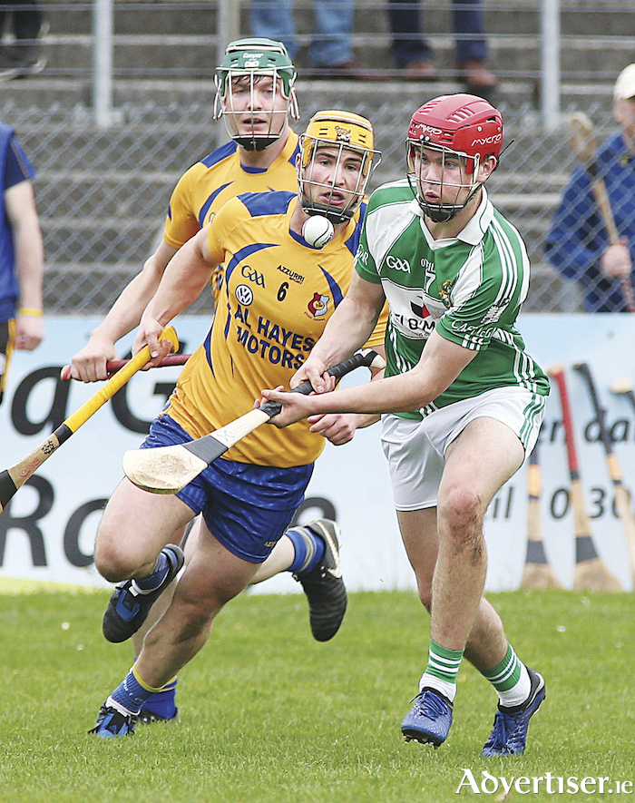 Sean Neary of Castlegar, and Martin Dolphin of Portumna in the Senior A Group 1 Senior Hurling Championship game in Kenny Park, Athenry.