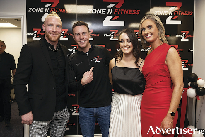 Evan Connolly, Head Trainer with special guest Nathan Carter, Michelle Kelly, nutritional consultant and Mary Davin, Managing Director at the official opening of Zone N Fitness, Oranmore, Business Park. Photo:XPOSURE