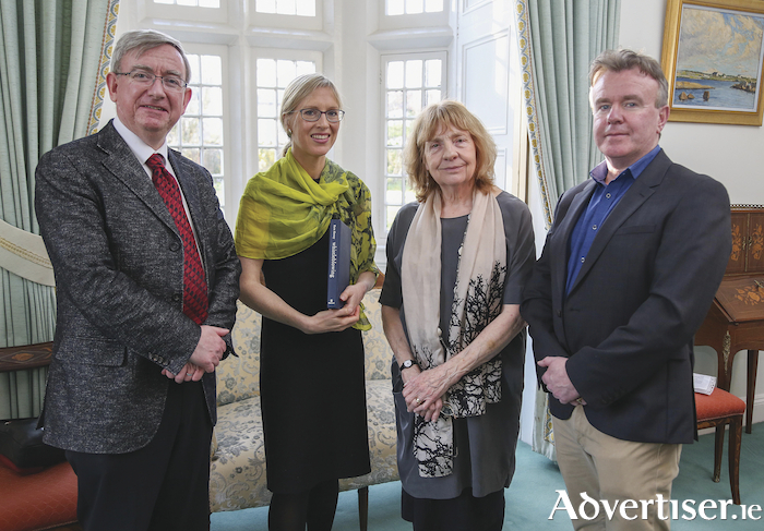 Pictured at the launch of the new book 'Whistleblowing: Toward a New Theory' are l-r: president of NUI Galway, Professor Ciarán Ó hÓgartaigh, author of the book, Kate Kenny, Professor of Business and Society, JE Cairnes School of Business and Economics, NUI Galway, Ricca Edmondson, Professor of Political Science and Sociology, NUI Galway, and Dr Tom Clonan, security analyst with The Irish Times. Photo: Aengus McMahon