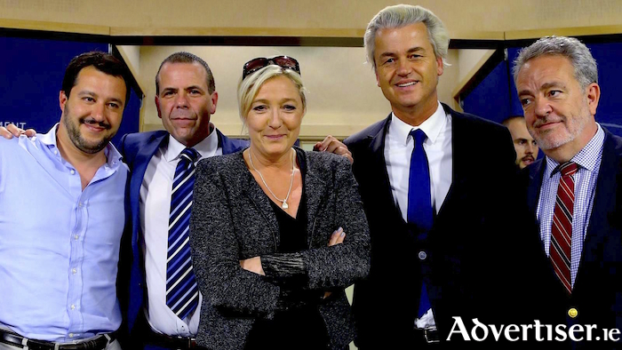 European right-wing leaders, including Matteo Salvini, Marine Le Pen, and Geert Wilders