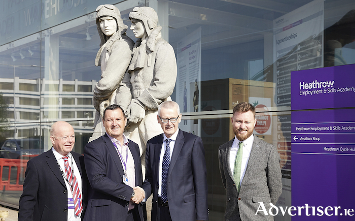 Brian Hughes, Abbeyglen Castle Hotel; Nigel Milton, Heathrow Airport; Adrian O'Neill, British Ambassador to Ireland; and Des Burke, Tourism Ireland, at Heathrow Academy.