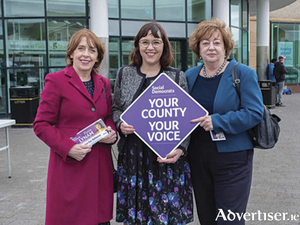 Athlone SocDems candidate, Fiona Lynam, on the canvass trail with party co-leaders, Roisin Shortall and Catherine Murphy