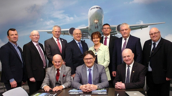Pictured at the meeting is Ireland West Airport manager Joe Gilmore, flanked by airport board chairman Arthur French and Mayo County Council CE and board member Peter Hynes, with members of the region's local authority delegation. Standing, from left, Sligo County Council's Cllr. Paul Taylor, director of services, Leitrim County Council, Joseph Gilhooly, Sligo County Council CEO Ciarán Hayes, Galway City Council CEO, Brendan McGrath, Roscommon County Council leas-cathaoirleach Cllr. Kathleen Shanagher, Galway County Council CEO Kevin Kelly, Roscommon County Council CEO Eugene Cummins and Donegal head of tourism Barney McLaughlin. Photo: Henry Wills