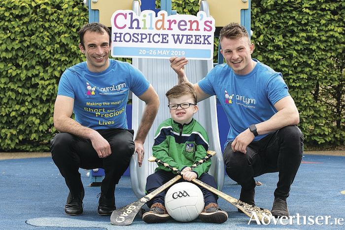 GPA members Gareth Dillon, Laois footballer, and Eoghan Kerin, Galway footballer visited LauraLynn, Ireland's only children's hospice to launch National Children's Hospice Week, which this year runs from 20th - 26th May. They are pictured here with young Cian Murphy of Limerick. Pic Shane O'Neill SON Photo
