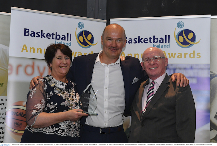 Hall of Fame Award winner Liam McHale is presented with his award by Theresa Walsh (President of Basketball Ireland) and Fran Ryan, (Chairperson of the Board of Basketball Ireland), during the Basketball Ireland 2018/19 Annual Awards and Hall of Fame at the Cusack Suite, Croke Park in Dublin. Photo: Sportsfile