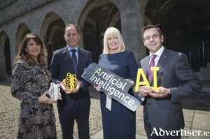 Pictured at the launch of two new master's programmes in computer science - artificial intelligence in NUI Galway, from left: Caroline Cawley, CEO ITAG; Paul Healy, CEO Skillnet; Minister of State for Higher Education Mary Mitchell O'Connor; and Professor Michael Madden, School of Computer Science, NUI Galway. Photo: Aengus McMahon.