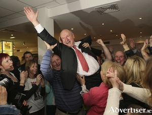 Poll topper: Independent Cllr Michael Kilcoyne was lifted shoulder high after topping the poll last time out in the Castlebar area. Photo: Michael Donnelly