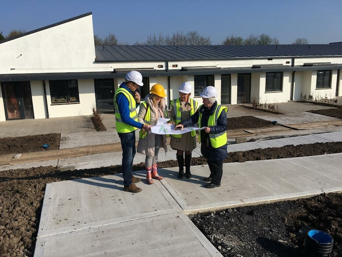 Clewbay garden trail committee members Cormac Langan , Máiréad Bourke, June Bourke and Genie Keating look over the plans for the gardens of the Mayo Roscommon Hospice Foundation Unit in Castlebar.