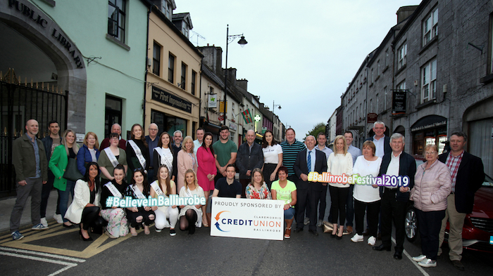 At the launch of The Ballinrobe Festival 2019, pictured were Committee members, sponsors, public representitives ,Queens of the Lakes, community members and Matthew Burke of Connacht Rugby who officially launched the Festival. Photo: Trish Forde.