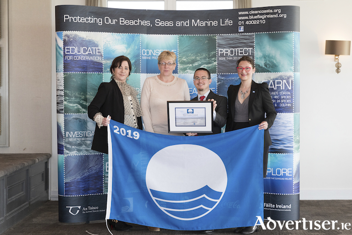 Maura Murphy, Mayo County Council; Susan Murphy, Department of Housing, Planning and Local Government; Ian Diamond, An Taisce; and Sophie Bachet Granados, International Blue Flag Director, FEE (Foundation for Environmental Education).