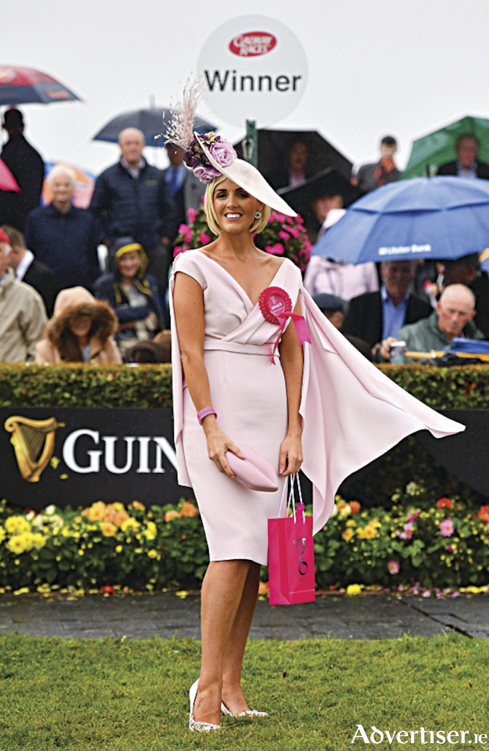 Winner of the g Hotel Best Dressed Lady Charlene Byers, from Mayobridge, Newry, Co Down, poses for a photograph during the Galway Races Summer Festival 2018. Photo: Seb Daly/Sportsfile