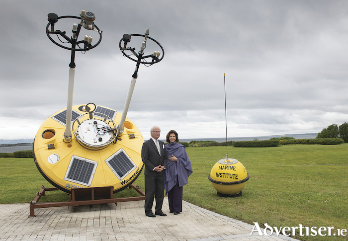 King Carl XVI Gustaf and Queen Silvia of Sweden at the Marine Institute headquarters in Oranmore pictured beside the state of the art Irish Marine Data Buoy. Photo: Andrew Downes, Xposure