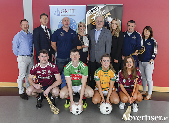 Pictured at the GPA WGPA GMIT scholarship launch, back row from left: Noel Connors, GPA national education officer; Paul Flynn, CEO of GPA; Ed Daly, lecturer in GMIT; Lisa Ryan, head of department at School of Science and Computing at GMIT; Des Foley, acting VP of academic affairs and registrar at GMIT; Lorraine Ryan, WGPA executive; Damian Curley, GMIT development officer; and Molly Dunne, GMIT sports officer. Front row: Galway hurler Jack Coyne; Mayo footballer James McCormack; Leitrim ladies footballer Bronagh O'Rourke; and Galway camogie player Tara Kenny. Photo: Piaras Ó Mídheach/Sportsfile.