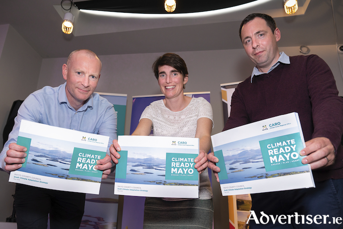Pictured at the launch of the Climate Ready Mayo public consultation process in Bridge Street, Castlebar are David Mellett (CARO coordinator) Laura Dixon (Mayo County Council  Climate Action Officer) and Liam Scott, (CARO). Photo: John Mee Photography