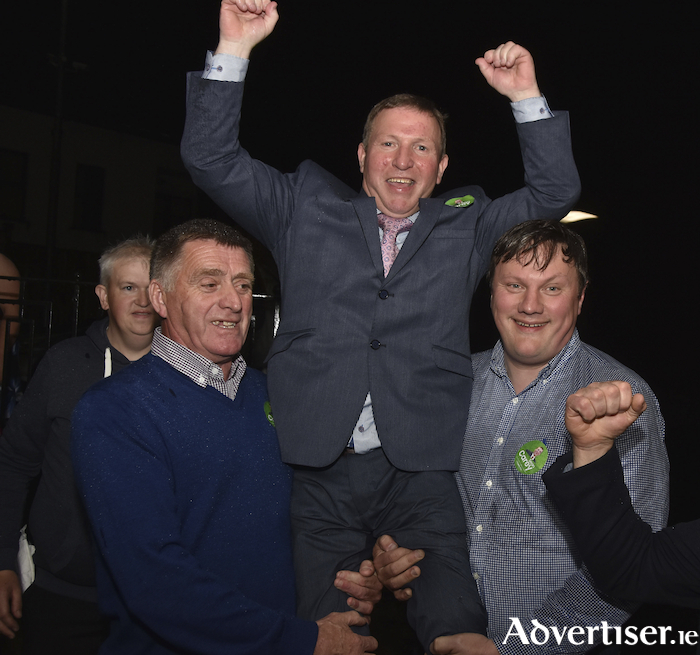 Back with a bang: Fianna Fail's Sean Carey made up for disappointment in missing out five years ago narrowly, by comfortably claiming a seat this time around in the Belmullet Local Electoral Area.
