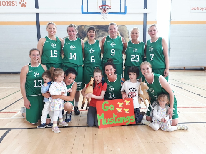 Mustang magic: Back row: Louise Harte, Aedin Nic Fhlannchadha, Derval Coyne, Mary Grealish, Sheila Cunningham, Ciara Griffin. Front row: Sinead Hughes, Susan Rowland, Karen Mulherin, Siobhan Kilkenny with super fans Joshua, Sophia Rowland, Louisa Rowland and Scout, Gracie Bell Hussey.