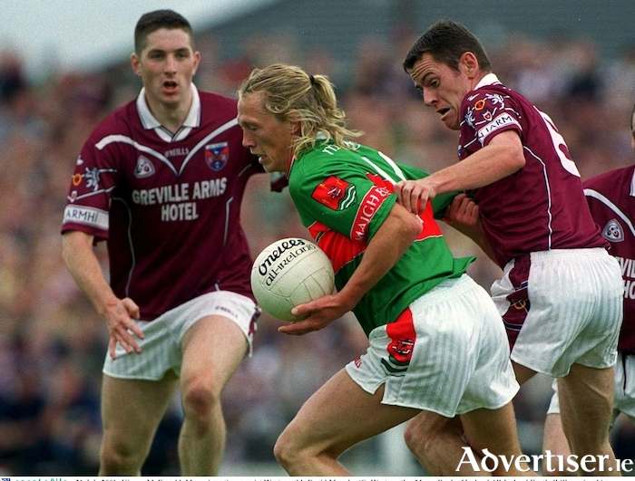 First steps in the qualifiers: Ciaran McDonald in action for Mayo in their first ever qualifier game in 2001. Photo:Sportsfile.