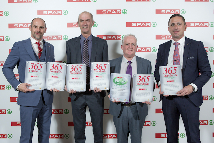 Eric Shally (SPAR Regional Manager), John Quinn (Corrib Oil SPAR Ballyhaunis, Corrib Oil SPAR Express Ballinrobe, Corrib Oil SPAR Express Castlebar, Corrib Oil SPAR Express Louisburgh, Corrib Oil SPAR Express Swinford, Corrib Oil SPAR Westport); Padraig Flatley (Corrib Oil SPAR Ballyhaunis, Corrib Oil SPAR Express Ballinrobe, Corrib Oil SPAR Express Castlebar, Corrib Oil SPAR Express Louisburgh, Corrib Oil SPAR Express Swinford,  Corrib Oil SPAR Westport) and Gerry Burke (SPAR Retail Operations Advisor).