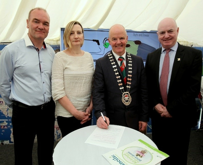Mayo County Council parks superintendent Peter Gill, Mayo County Council heritage office Deirdre Cunningham, Cathaoirleach of Mayo County Council Cllr Blackie Gavin and Mayo County Council chief executive Peter Hynes, signing Mayo up to the All-Ireland Pollinator plan at the Mayo Day celebrations.