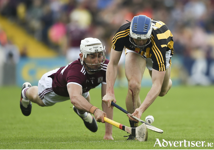 NOT ONE INCH GIVEN: Galway's Jason Flynn hounding Kilkenny's Huw Lawlor, during the historic victory at Nowlan Park in Kilkenny during the Leinster GAA Hurling Senior Championship Round 4 match  Photo by Daire Brennan/Sportsfile.