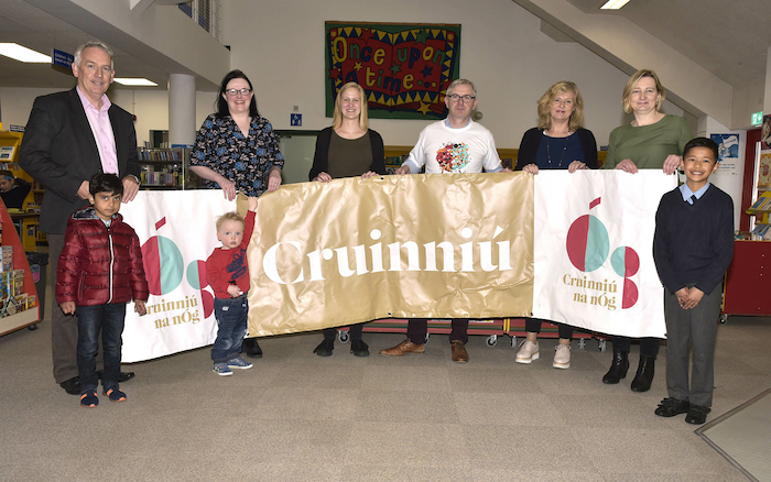Pictured in Castlebar library at the launch of the upcoming Cruinniu event were: Austin Vaughan (County Librarian), Anne Marie McGing (Arts Office), Julianna Herold (County Library), Jim O'Connor (County Library), Anne McCarthy (Military Barracks) and Deiedre Cunningham, (Heritage Officer)Front  l-r; Aadarsh, James and Thin-Min. Photo: Ken Wright