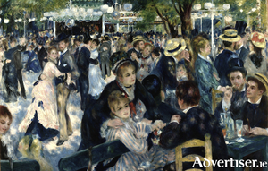 Auguste Renoir's marvellous Dance at Le Moulin de la Galette - a painting of well to do people enjoying themselves. It was also used for the cover of Rod Stewart's 1976 album, A Night On The Town.