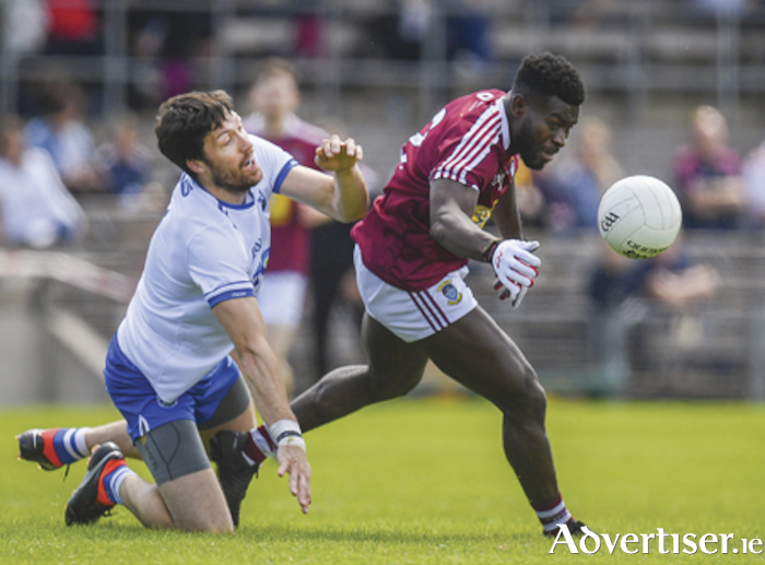 Westmeath and Rosemount senior footballer, Boidu Sayeh, in action during the All-Ireland qualifier series round one victory over Waterford.