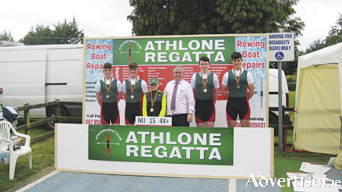 Athlone Boat Club MJ14 quad crew, Simon O'Boyle, Shane O'Boyle, Daire Henshaw, Harry Lough and Cian Scanlon, are pictured with Deputy Kevin 'Boxer' Moran at the club's annual regatta which took place in Coosan Point