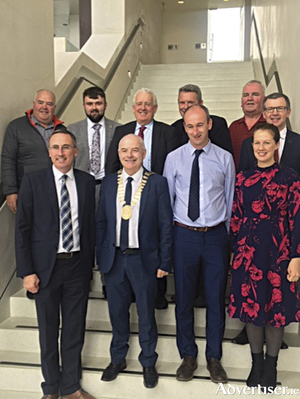 The elected representatives which comprise the Athlone Moate Municipal District, the inaugural meeting of which took place on Monday.  Back row, l-r, Cllr. John Dolan, Cllr. Jamie Moran, Cllr. Tom Farrell, Cllr. Liam McDaniel, Cllr. Johnnie Penrose, Barry Kehoe, Director of Services.  Front row, l-r, Cllr. Aengus O'Rourke, Cllr. Frankie Keena, Cllr. Vinny Mc Cormack, Cllr. Louise Heavin.
