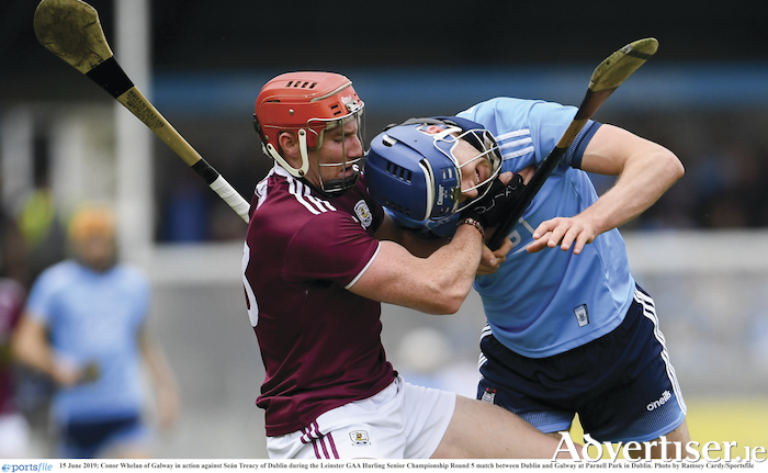 BUTT OUT: Galway's Conor Whelan in action against Dublin's Sean Treacy during the Leinster GAA Hurling Senior Championship Round 5 match between Dublin and Galway at Parnell Park in Dublin. Photo by Ramsey Cardy/Sportsfile.