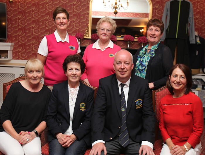 At Ballinrobe Golf Club winners of  competition sponsored by TJ Quinn of Petals and Buds, Ballinrobe were, front row: Bernie Divilly, Eileen Conlisk (Lady Captain),Tony O'Toole (Club Captain) and Carmel Maloney. Back row: Anne Treacy, Angela Murphy and Phyllis Lee. Photo: Trish Forde.