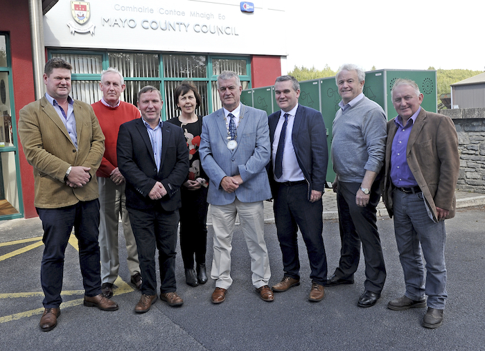 Clllr Christy Hyland who was elected s Cathaoirleach of the Westport-Belmullet Municipal District, with other elected councillors and council management. Photo: Conor McKeown.