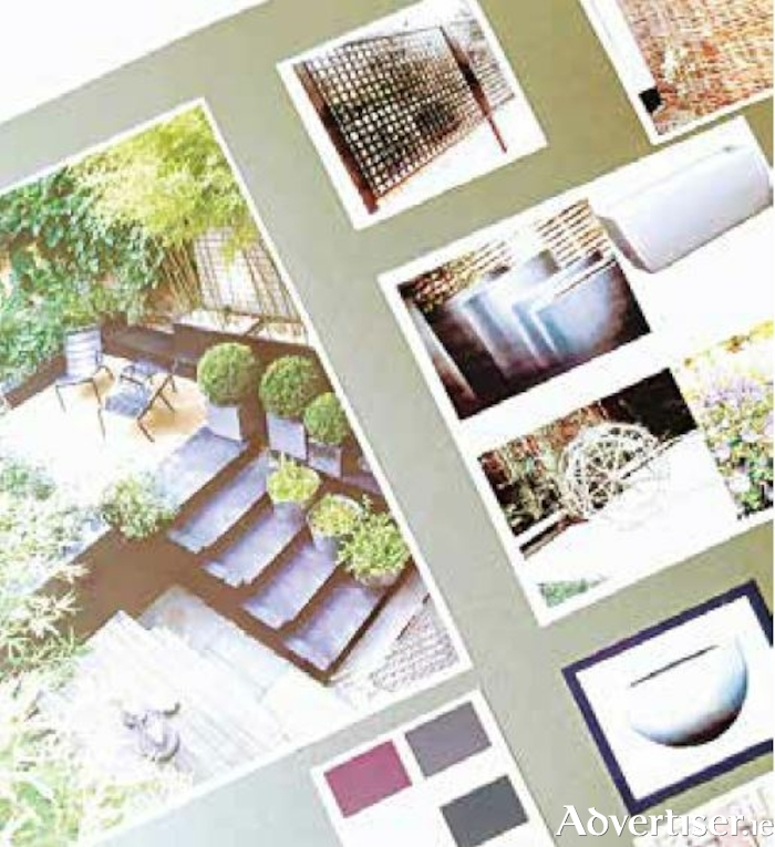 A moodboard with features for a modern, minimalist garden by Anne Byrne Garden Design