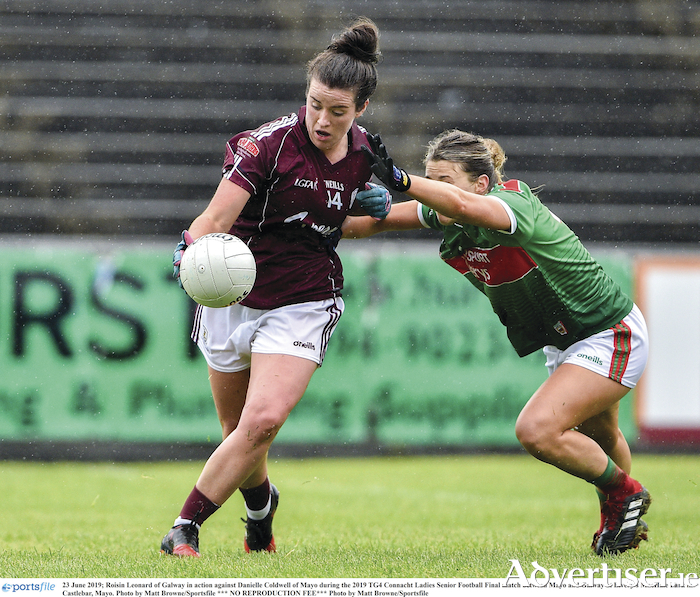 Galway's Roisin Leonard in action against Danielle Coldwell of Mayo during the 2019 TG4 Connacht Ladies Senior Football final at Elvery's MacHale Park in Castlebar, Mayo. Photo by Matt Browne/Sportsfile.