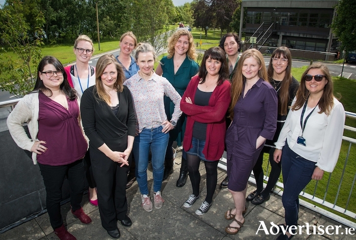 Soapbox Science Galway 2019 speakers and organisers: Back row L-R: Emily Growney, Dara Stanley, Jessamyn Fairfield, Fiona Martyn, Eimear Dolan. Front row L-R: Alison Bistline-East, Dara Cannon, Nicola Fitz-Simon, Michelle Curran, Sarah Brennan and Fearon Cassidy. Photo: Aengus McMahon