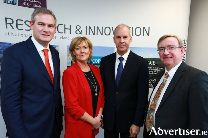 Pictured at the opening of the new Business Innovation Centre - North at NUI Galway are l-r: Government Chief Whip and Minister of State for the Irish Language, the Gaeltacht and the Islands, Sean Kyne, ; Fiona Neary, innovation operations manager, NUI Galway; Dr Larry Couture, CEO, Orbsen Therapeutics Ltd; and Professor Ciarán Ó hÓgartaigh, president of NUI Galway. Photo: Sean Lydon