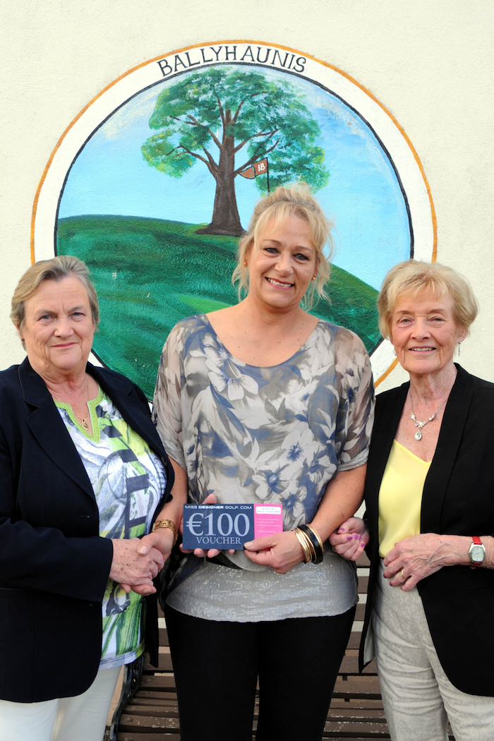 Mary Lyons ( Lady Captain Ballyhaunis golf club) prresenting a voucher for €100 sponsored by Miss DesignerGolf to winner Mariette Podgieter also in the photograph is Norrie Dillon (Competition Secretary).Photo: Glynn's Photography, Castlerea.