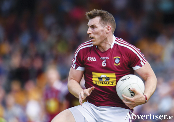 29 June 2019; Kieran Martin of Westmeath the GAA Football All-Ireland Senior Championship Round 3 match between Westmeath and Clare at TEG Cusack Park in Mullingar, Westmeath. Photo by Sam Barnes/SportsfileMaryland clubman and Westmeath captain, Kieran Martin, maintains possession of the ball during his team's one point loss to Clare in the All-Ireland senior football championship qualifier in Mullingar.  Photograph by Sam Barnes/SPORTSFILE