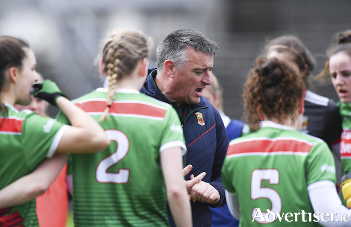 Mayo manager Peter Leahy will be looking to guide his side to victory over Galway on Saturday. Photo: Sportsfile