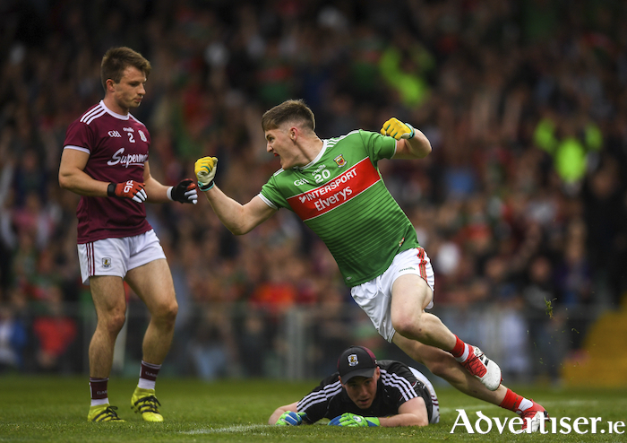 Carr on target: James Carr celebrates scoring his second goal for Mayo. Photo: Sportsfile