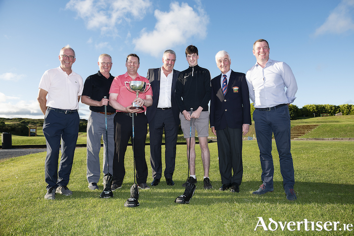 Kevin O'Reilly of Croi with Gearoid Walsh, Kevin Costelloe of Marsh Ireland, Michael Burke of  Burkeway Homes, Jack McGovern, Bearna Golf Club president Michael Commons, and Fred Fullard of Burkeway Homes.