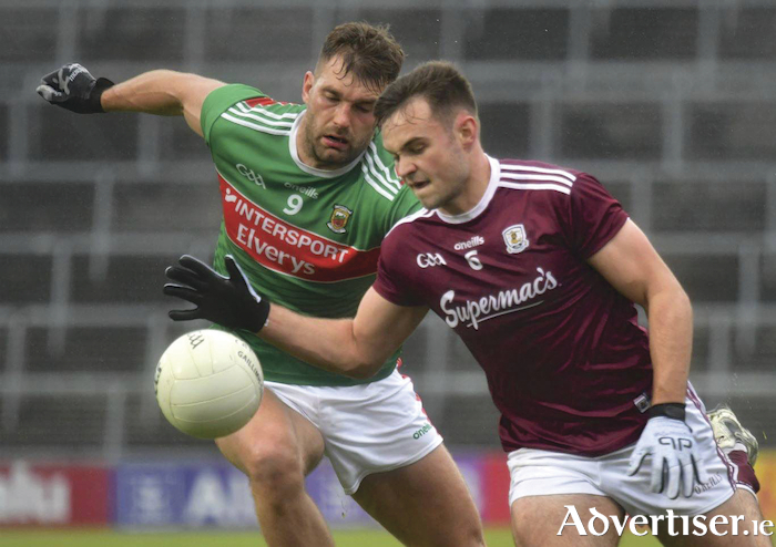 Galway's Cillian McDaid and Mayo's Aidan O'Shea in action from the All-Ireland Senior Football Championship Qualifiers Round 4, LIT Gaelic Grounds, Co. Limerick. Photo:- Michael Gough