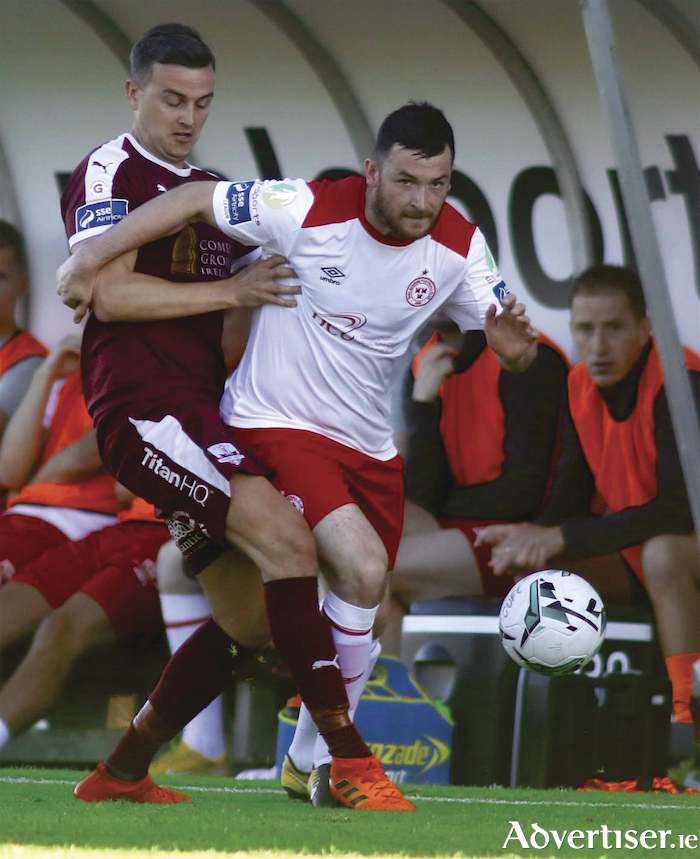 Galway United's Marc Ludden and Ryan Brennan of Shelbourne in action from the SSE Airtricity League first division clash at Eamonn Deacy Park, Friday. Photo:-Mike Shaughnessy