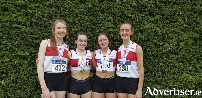 National 4x400m relay U20 champions: GCH's Aoife Sheehy, Seren O'Toole, Laura Nally and Rachel Hughes.